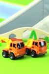 Рабочие машины строят железную дорогу